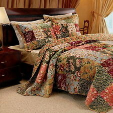 French Country Patchwork QUILT BEDSPREAD SET Oversized 120 x 118 Super King NEW