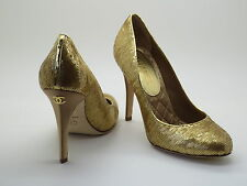 Chanel Gold Sequined Leather Satin CC Logo Shoes Pumps 37 / 6.5 New