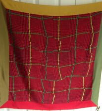 CHRISTIAN FISCHBACHER Signed Red Green Yellow Houndstooth Silk Scarf 34x34