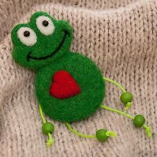 green frog felt brooch pin Needle felted animal