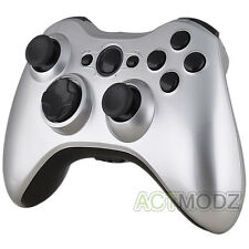 Glossy Polish Silver Housing Shell Case & Black Buttons for Xbox 360 Controller