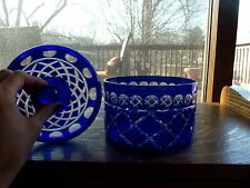 CANDY BOWL JAR & LID Czech/Bohemian? Glass cobalt blue cut to clear crystal