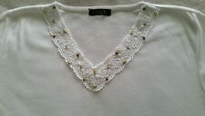 Ladies White Short Sleeve Top T-Shirt with Crochet Neck & Wooden Beads - Size M
