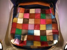 NEW STELLA & MAX WOMEN'S LEATHER MULTICOLOR PATCHWORK HOBO HANDBAG