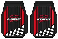 (PAIR) Red Chevrolet Racing Custom Universal Floor Mats Trim New Free Shipping