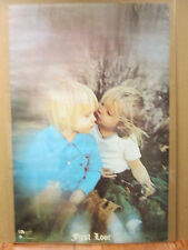 Vintage 1971 First Love original cute baby kiss poster 6730