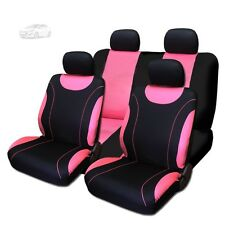 New Sleek Flat Cloth Black and Pink Front and Rear Seat Covers Set For Hyundai