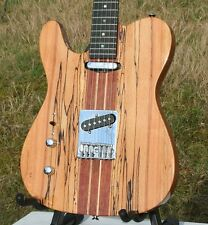 Zurdo Weller telemática, macizo spalted Maple + caoba, neck Thru, Grover