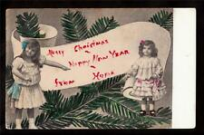 c1912 hand tinted girls in dresses Christmas & Happy New Year postcard