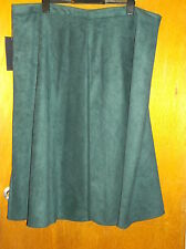 "M&S Collection Suede Touch Flared Hem Lined A-Line Skirt UK22 L30"" Dk Green BNWT"