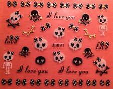 Nail Art 3D Decal Stickers Halloween I Love You Skeleton Bows Skull JH091