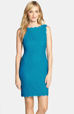 ADRIANNA PAPELL BOATNECK OVERLAY LACE TURQUOISE SHEATH DRESS sz 6