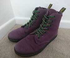 Dr Martens SHOREDITCH Purple Canvas Boots Size UK 6 EU 39 - Docs Airwair Soles