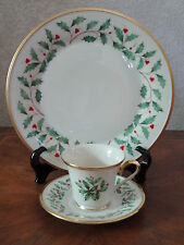 Lenox China Holiday 3 pc Dinner Plate Cup and Saucer Holly Christmas NEW