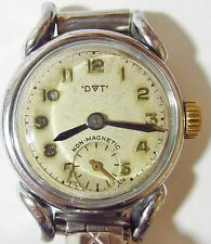 Ladies 1950's SS Deco DVT Turtle lug Bracelet Watch FHF63 movt Serviced Warranty