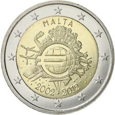 "Malta 2 euro 2012 Unc ""10 years cash Euro"" Commerative  - Zo uit de rol"