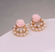 NiX 1255 New Gold Plated Fashion Pearl Pink Roses Flower Earrings Pearl Gift