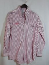 Coca-Cola Button Front Work Shirt Uniform by Riverside Sz 16 Striped Red Classic