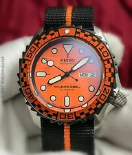 New JDM Seiko SKX 009 007 Mod Diver Automatic Orange Racer HD Homage Dive Watch