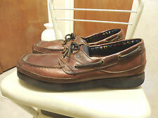 MENS SZ 12M TIMBERLAND CLASSIC 2 EYELET BROWN LEATHER BOAT SHOES