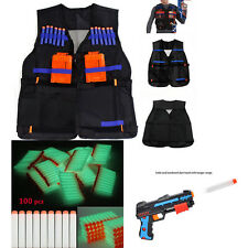 Tactical Vest w/Storage Pocket +100pcs Refill Gun Bullet for NERF N-StrikeT Glow