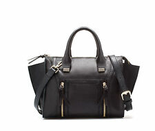 ZARA BLACK MINI LEATHER CITY BAG WITH ZIPS MESSENGER BAG BOLSO CUERO