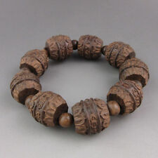 Old Chinese traditional wood carving  beaded bracelet NR
