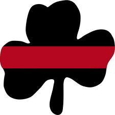 100% Reflective Thin Red Line CLOVER, SHAMROCK Helmet Decal Fire Firefighter