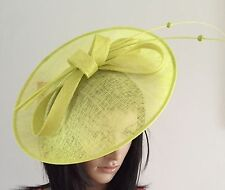 LIME GREEN WEDDING ASCOT HAT DISC FASCINATOR  OCCASION MOTHER OF THE BRIDE RACES