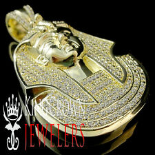 King Tut Tutankhamun Pendant 10K Gold Finish Lab Diamond Egyptian Pharaoh Charm