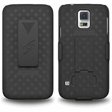 BLACK RUBBERIZED HARD CASE + BELT CLIP HOLSTER STAND FOR SAMSUNG GALAXY S5 PHONE