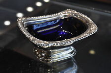 Old Newbury Sterling 3.7oz. Cobalt Blue Enameled Insert Nut/Candy Dish 4 1/8 x 2