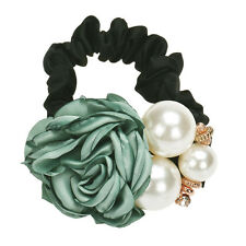 Pearls Beads Rose Flower Hair Band Rope Scrunchie Ponytail Holder GN NEW