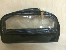 Joan Rivers Beauty cosmetic bag black patent leather and clear (man made) (9314)