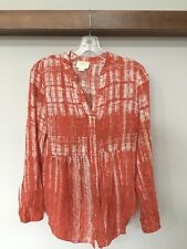 MAEVE WOMEN'S CALIA TUNIC SHIRT TOP BLOUSE ANTHROPOLOGIE ORANGE RUST 4 SMALL