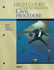 High Court Case Summaries on Civil Procedure, Keyed to Subrin, 3d