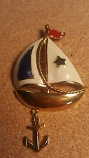 AVON Gold Tone Sailboat & Anchor Pin, Brooch With Red, White & Blue Enamel, 3""