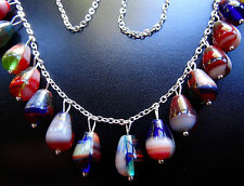 NWT STERLING SILVER chain multi colour Czech glass bead fringe necklace -K122