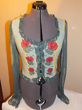 NEW VINTAGE BETSEY JOHNSON embellish FLORAL tie dye PEASANT top BLOUSE corset 8