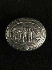 Antique Sterling Silver Dutch Snuff Box With Rembrandt Motif