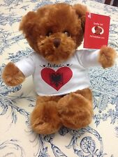 Teddy Bear with Albania Flag Heart Shirt says Love You in Albanian World Culture