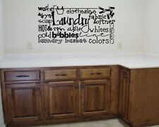 LAUNDRY COLLAGE Room Lettering Vinyl Words Decal Wall Art Sticker Decor Wash Dry