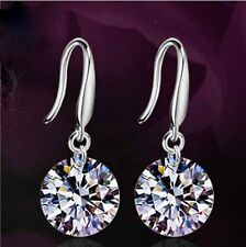 White Sapphire Crystal Silver Wishes Diamond Dangle Hoop Clasp Earrings Jewelry