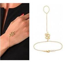 Fashion Gold Snake Bracelet Bangle Slave Chain Link Finger Ring Hand Harness