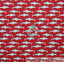 BonEful Fabric FQ Cotton Quilt Red White Shark Beach Ocean Fish Seafood Calico S