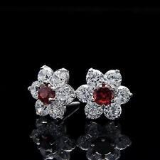 1.50ct Brilliant Cluster Earrings 14K Gold Garnet Red & White Studs Screwback