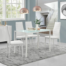 [en.casa]® Dining Table with 4 Chairs White Kitchen Room Glass