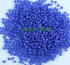 15/0 Round TOHO Japan Glass Seed Bead #934-Lt Sapphire/Opaque Purple Lined 10g