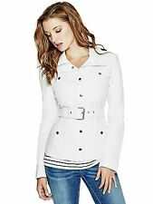 GUESS Jacket Womens Reza Belted Leather Jacket S Macadamia Off White NWT
