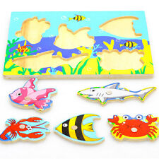 Fishing Puzzle 3D Wooden Toys For Toddlers Kids Children Educational Toys Gift